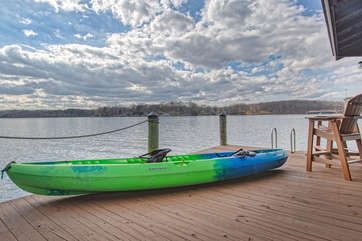 Image of Kayak on Wooden Dock.