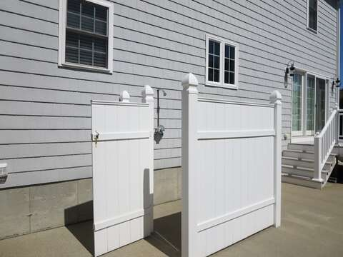 Outdoor shower with hot and cold water! - 9 Wilfin Road South Yarmouth Cape Cod - New England Vacation Rentals