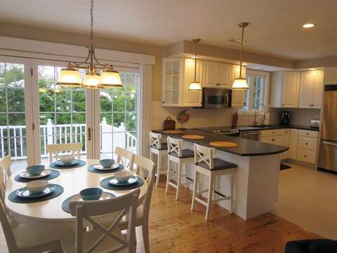 Doors from dining area to back deck. Easy access to gas grill - 9 Wilfin Road South Yarmouth Cape Cod - New England Vacation Rentals