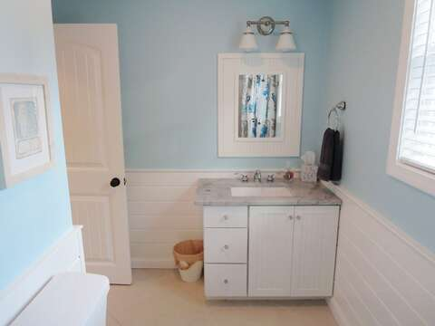 Bathroom on 1st floor. Located across the hall from the 1st floor bedroom - 9 Wilfin Road South Yarmouth Cape Cod - New England Vacation Rentals