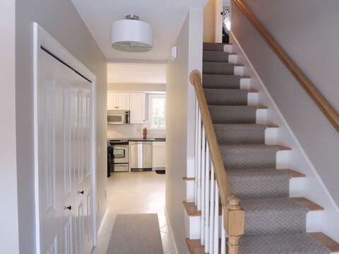 Stairs at main entryway to 2nd floor - 9 Wilfin Road South Yarmouth Cape Cod - New England Vacation Rentals