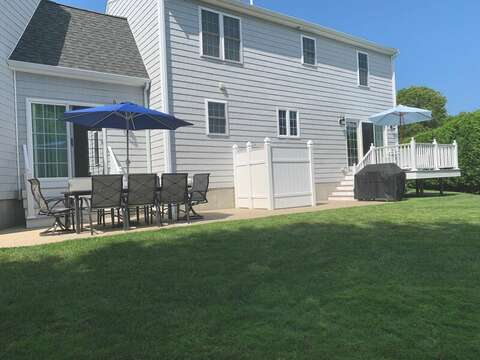 Back Yard with outdoor dining and outdoor shower  - 9 Wilfin Road South Yarmouth Cape Cod - New England Vacation Rentals