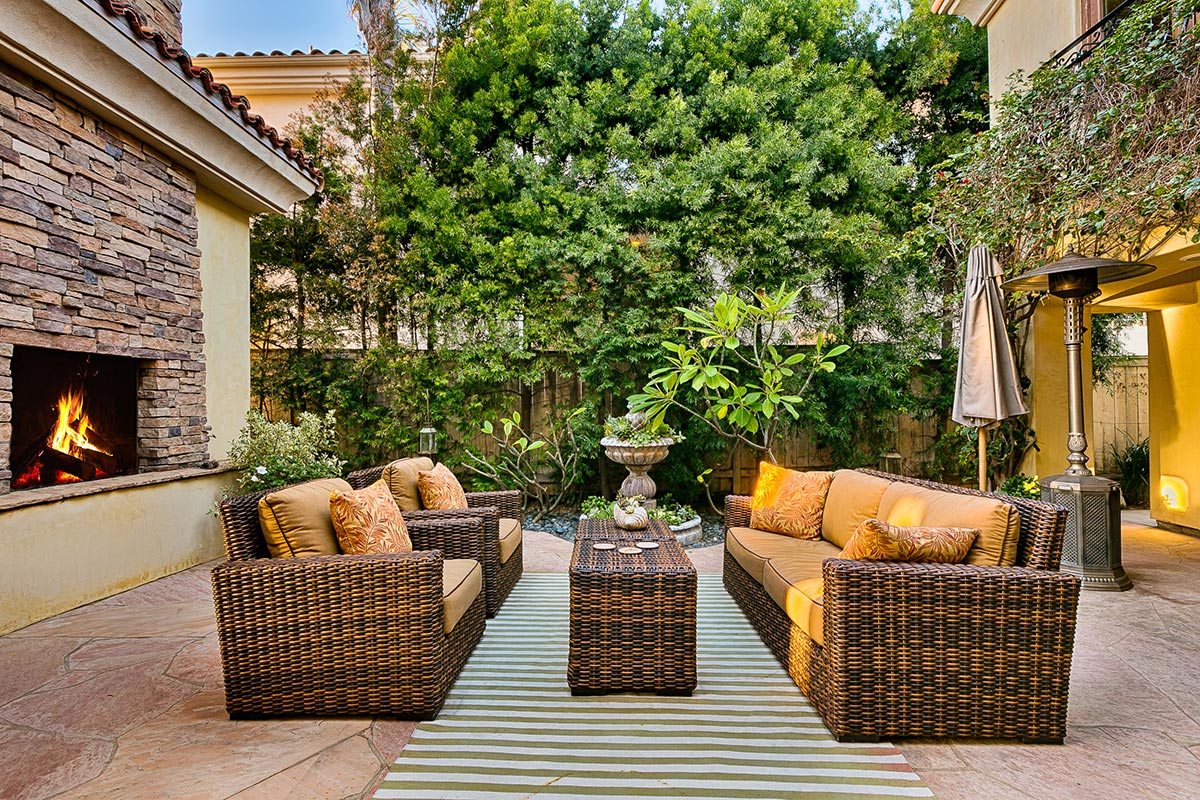 The secluded courtyard is comfortably furnished