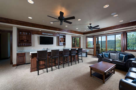 Entertainment Room Downstairs By Hot Tub & Game Room