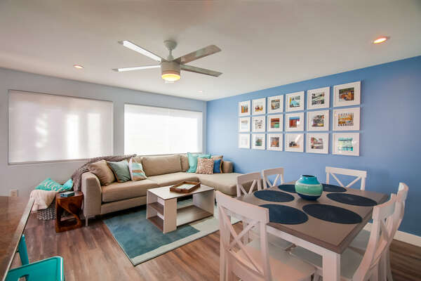 Living and Dining Area on the Third Floor of our Mission Beach San Diego Rental