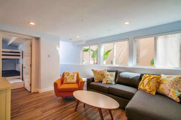Family Room on the First Floor of our Mission Beach San Diego Rental