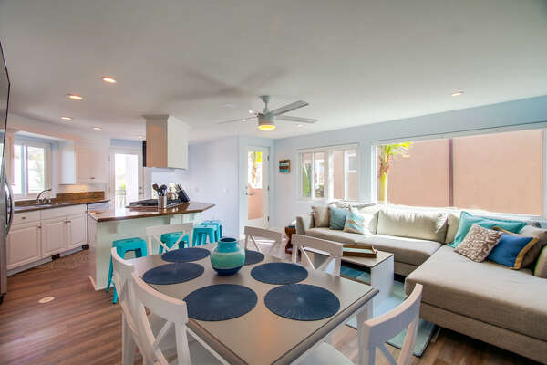 Third Floor Dinning Room, Living Room, & Kitchen in our Mission Beach San Diego Rental