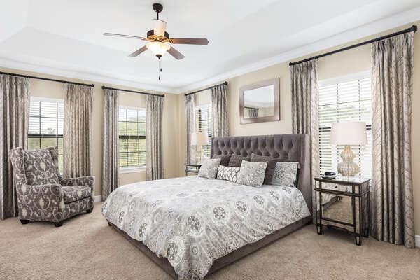 The master suite on the second floor features a King bed and en-suite bathroom