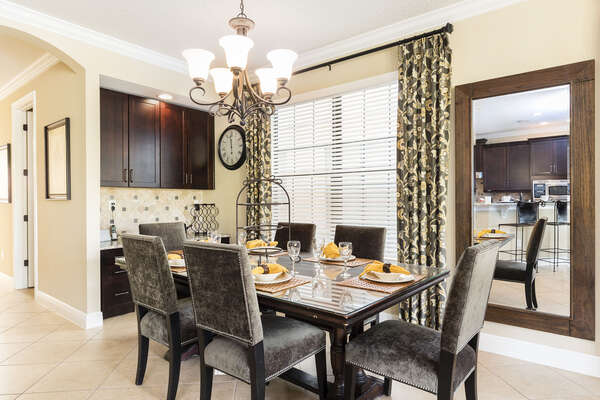 The dining area is perfect for any meal with seating for 6