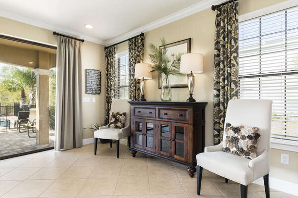 This seating area allows you to view the open floorplan of the home