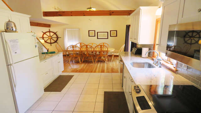 Another view of kitchen looking to dining area- 180 Hardings Beach Road Chatham Cape Cod - New England Vacation Rentals