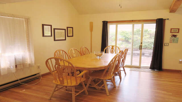 Dining (8 seats and extra leaf for table-Large A/C unit-sliders to deck-180 Hardings Beach Road Chatham Cape Cod - New England Vacation Rentals
