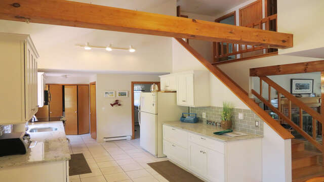 Fully equipped New kitchen with dishwasher- washer /dryer in closet by back entry door- 180 Hardings Beach Road Chatham Cape Cod - New England Vacation Rentals