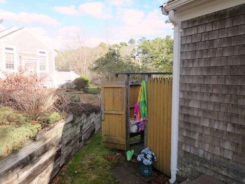Fully enclosed outdoor shower with hot and cold water-180 Hardings Beach Road Chatham Cape Cod - New England Vacation Rentals