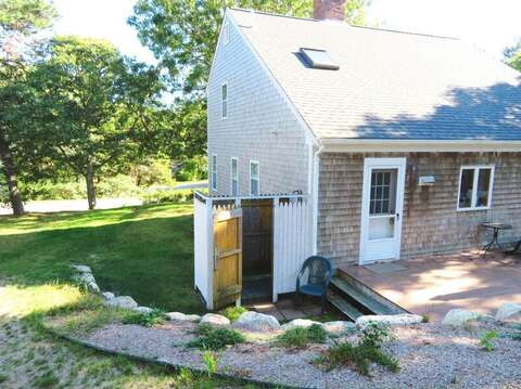 Enclosed outdoor shower with hot and Cold water- 180 Hardings Beach Road Chatham Cape Cod - New England Vacation Rentals