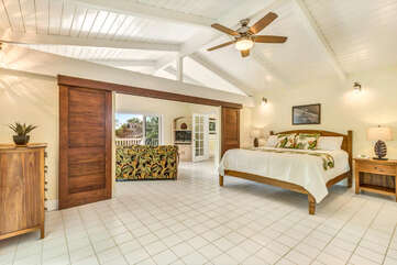 Main Level Master and Bedroom 2 of this Kona Hawaii vacation rental with Cal King Bed & TV.