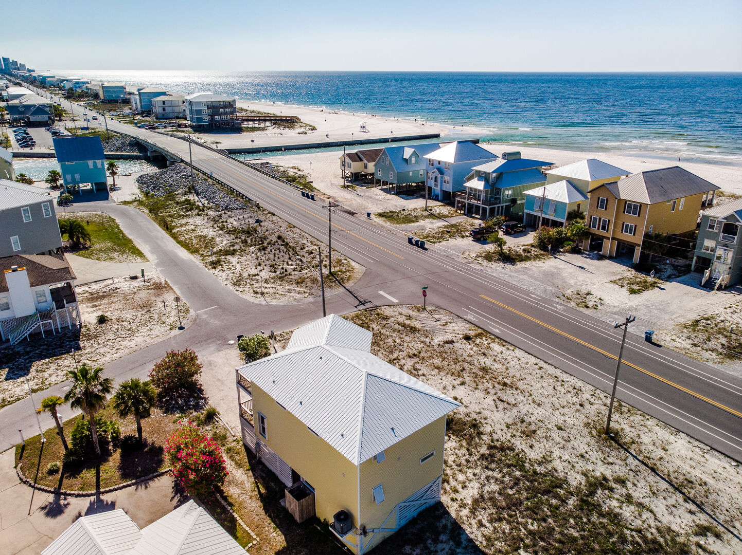 Aerial Picture of our Home, the Street, and a View of the Beach.