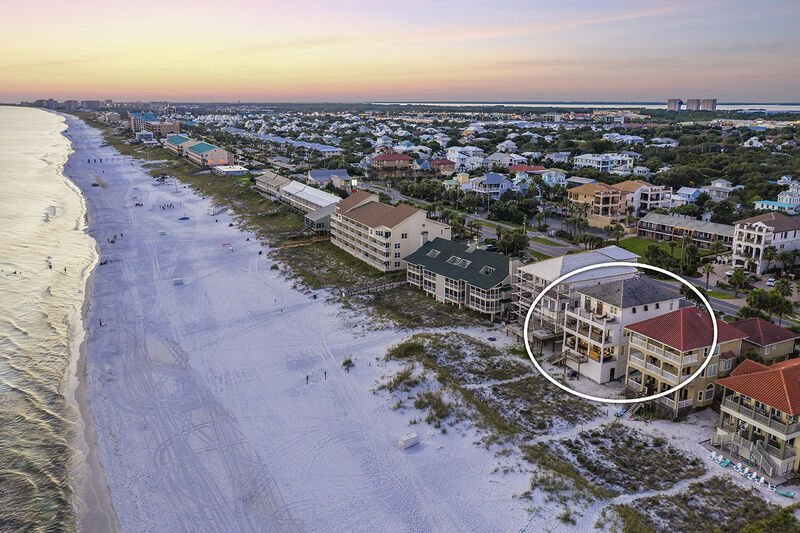 Aerial view of the Beach Area with the Rental circled