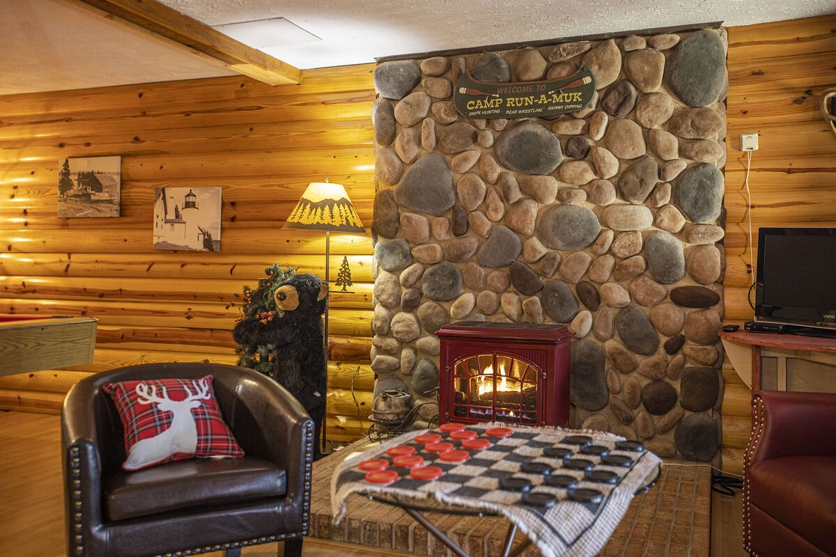 Have  a great time by the fire downstairs.