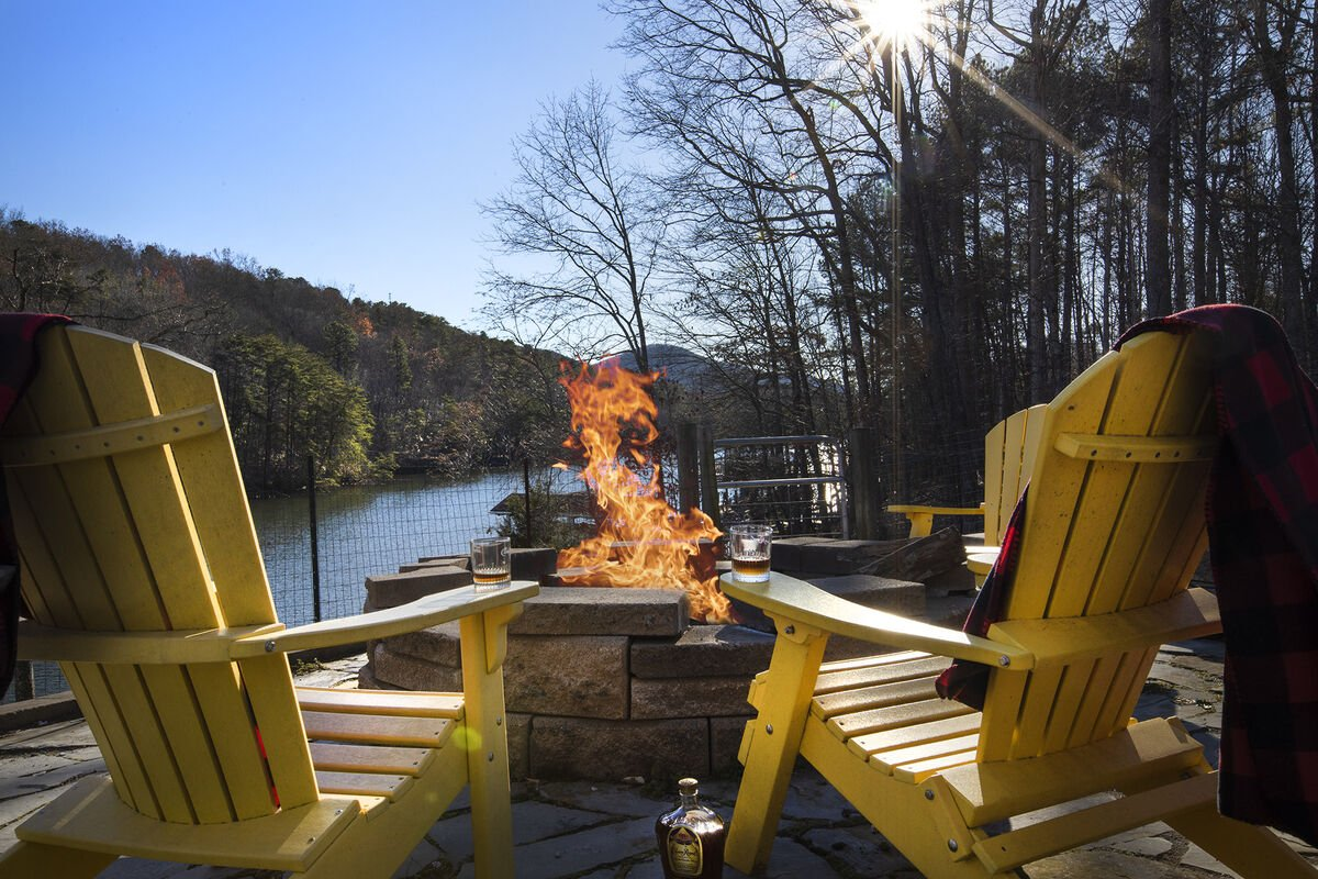 Slow Down and Enjoy the fire pit on the lake shore of Smith Mountain Lake