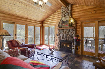 Image of Fireplace in Smith Mountain Lake Cabin Rental.