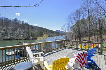 Spacious Deck Overlooks Lake.