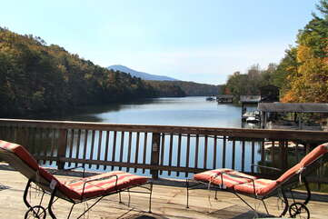Peaceful Views of Lake From Wooden Deck.