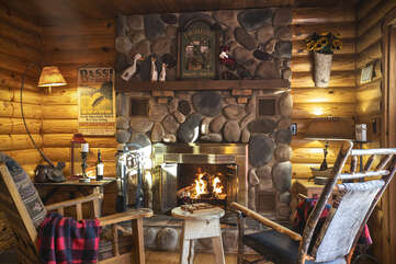 Sit By the Wood  Fireplace in the Evening,