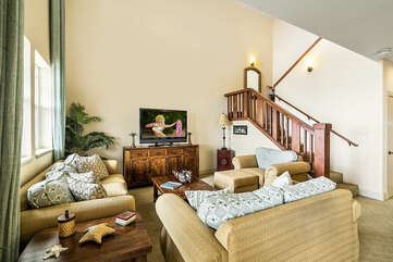 Living area/Stairs to bedrooms