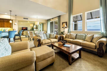 Living area and dining area of this Kona Hawaii vacation rental.