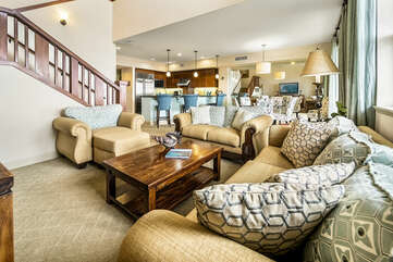 The spacious open-concept living of the living area.
