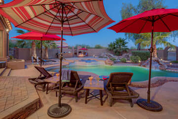 Gorgeous lagoon pool can be heated for refreshing year round dips.