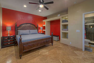Attached casita offers private accommodations that include a deluxe king bed, built-in storage space and a queen sleeper sofa (not pictured).