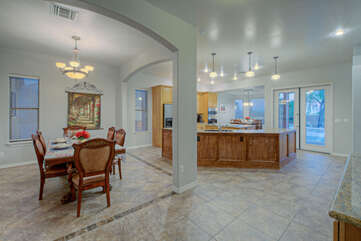 Open and spacious floor plan allows everyone to be included in the fun at any given moment.
