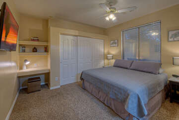 King bed, private bath and Smart TV are appealing features of the fourth bedroom.