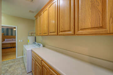 Well stocked and dedicated laundry room with front loading appliances plus a washer and dryer in the garage means you can pack less and keep everyone's wardrobe ready for the next adventure.