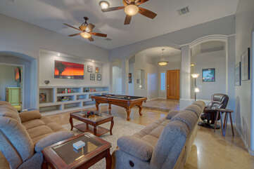 Modern great room is enchanting place to celebrate the good life with friends and family.