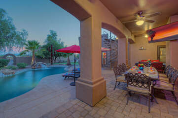 Outdoor amenities include a fire pit, fireplace, 2 propane grills, an outdoor beverage fridge, back porch TV, Sonos stereo, putting green, basketball hoop and newly added horseshoe and corn hole games.