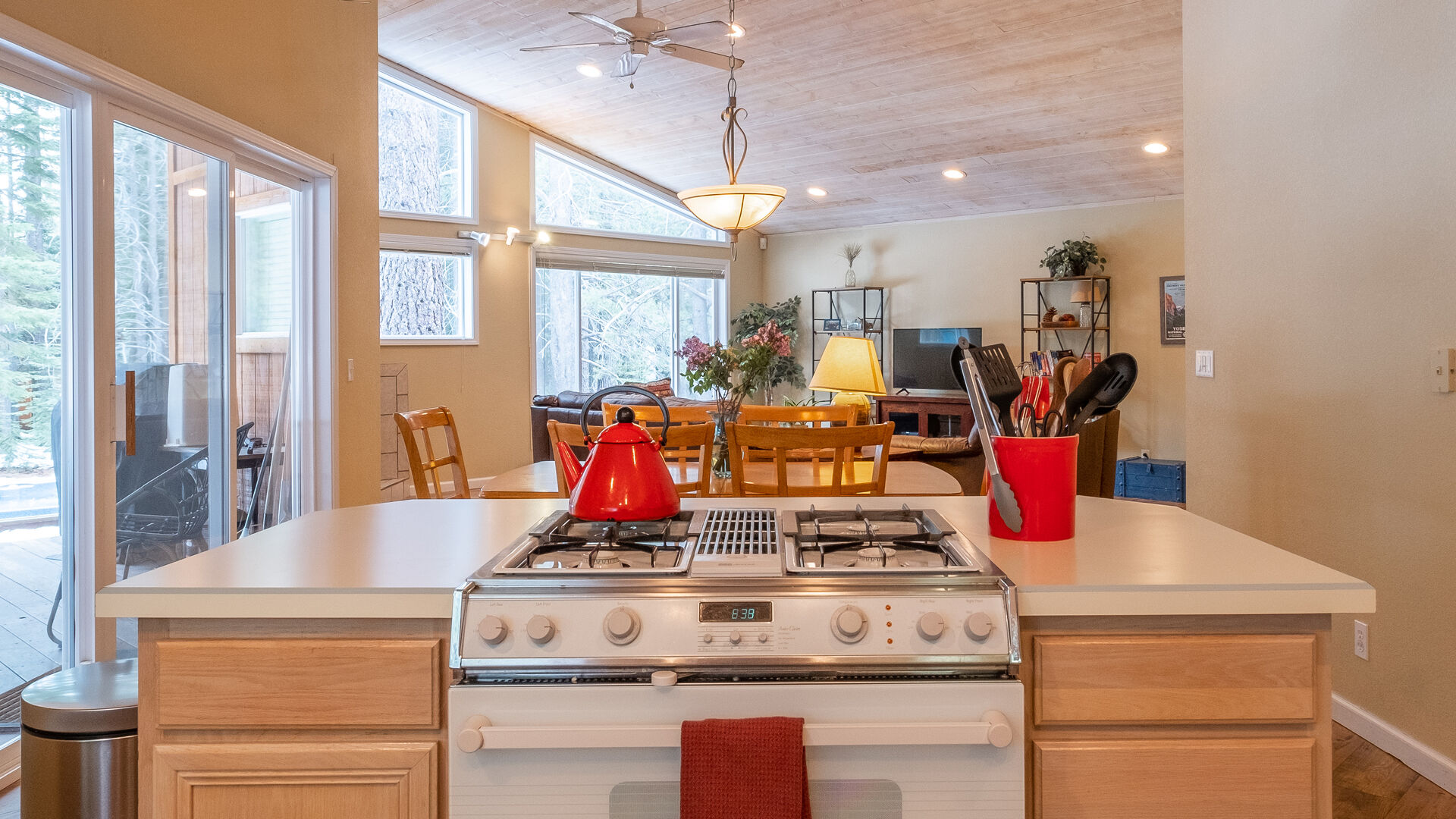 Kitchen Stovetop into Dining Room