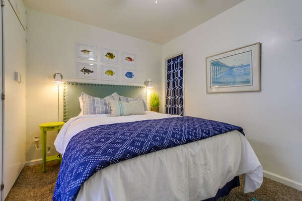 Queen Bedroom in our Mission Beach Rental in San Diego