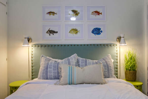 Cute Fish Decor Over the Queen Bed in Bedroom One