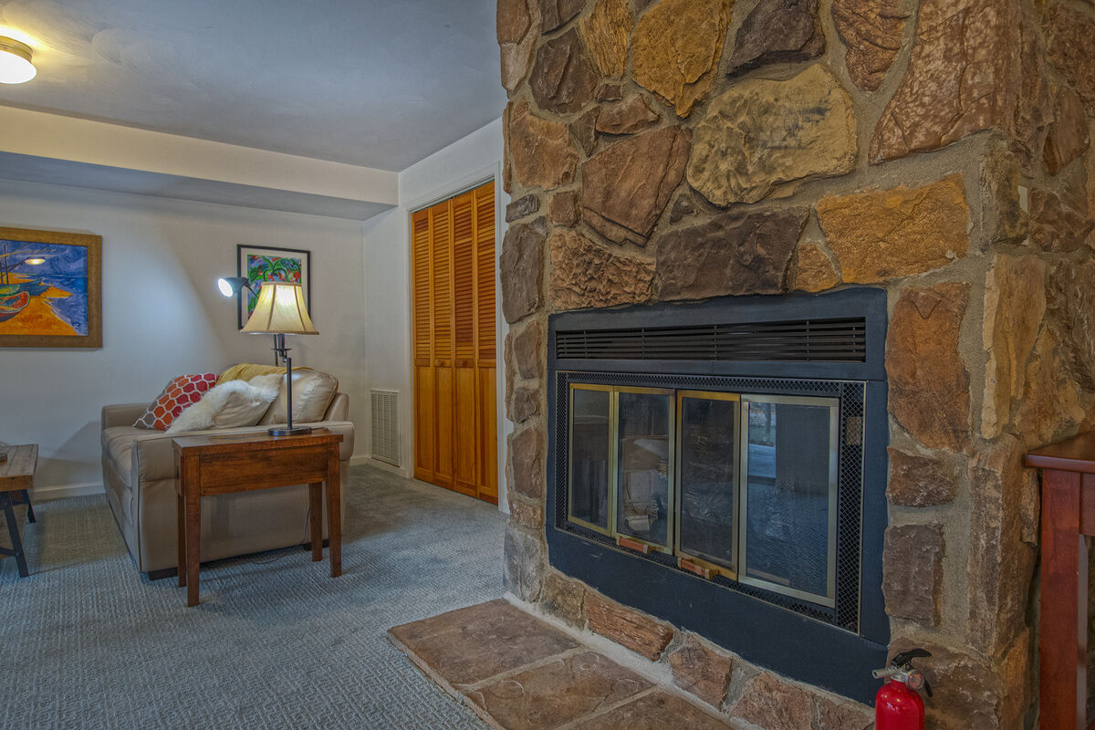 Basement fireplace with nearby couch
