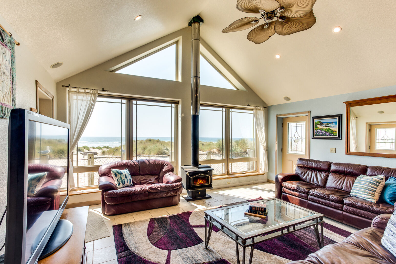 Enjoy watching the waves roll in from the comfort of the great room.