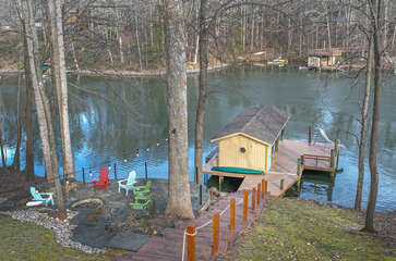 Dock, boathouse and lakeside seating