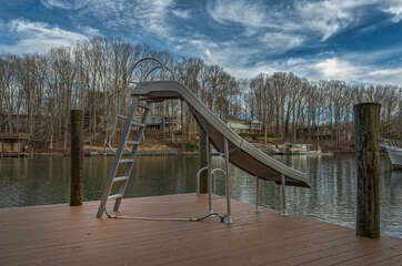 Slide on the deck leads directly into the lake
