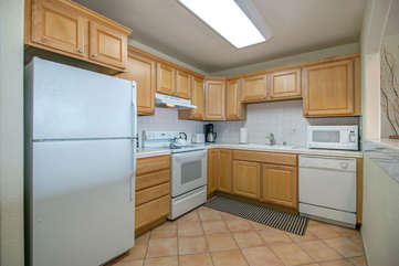 You'll have everything you need here: Toaster oven, microwave, coffee maker, etc