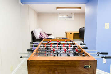 Foosball table in the basement