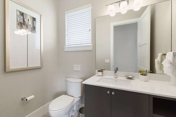A half bathroom located by the games room.
