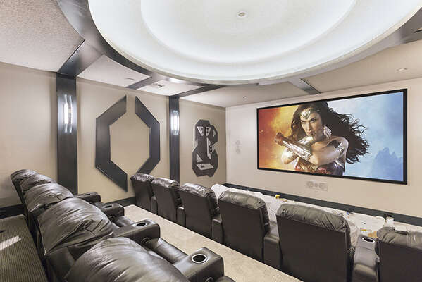 Watch your favorite movie with your family in the private theater room.
