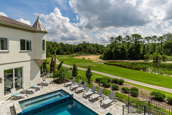 It offers beautiful views of the pool and golf course.